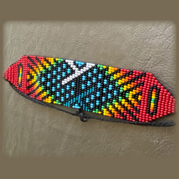 Indigenous Beaded Bracelet With Red And Blue Tones