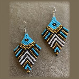 Egyptian Style, Lightweight Earrings With Blue, Black And Gold Colors