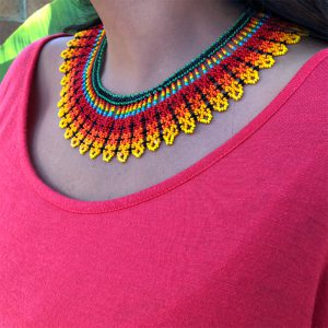 Exotic, Colorful Choker Necklace With Bright Colors