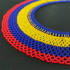 Exotic Choker Necklace With Red, Purple And Yellow Tones view 2
