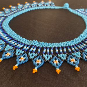 Beautiful Beaded Necklace With Black And Blue Tones