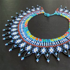 Beautiful Beaded Necklace With Black, White, Blue Tones