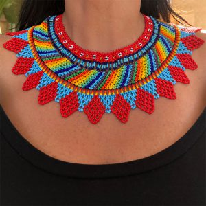 Choker Beaded Necklace With Red, Turquoise And Other Colors