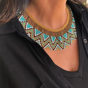 Light Blue And Golden Indigenous Beaded Egyptian Style Necklace