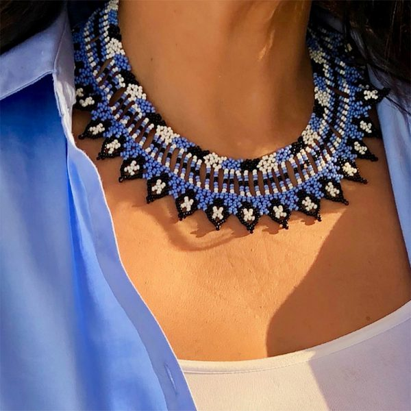 Artisan Necklace Handmade In Bogotá With Blue And Black Colors